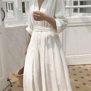 Womens-Linen-Cotton-Dress-V-neck-Long-Belt-Button-Loose-Casual-White-Black-Fairy