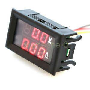Ammeter Gauge 10A LED Digital Volt Amp Voltmeter Dual 0-100V Red DC Panel