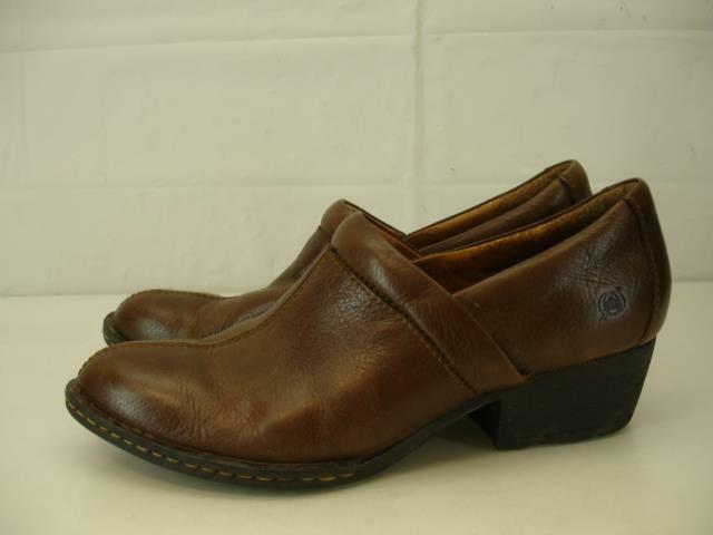 BORN Womens 9.5 Kinney Chispa Western Shoes Booties Leather Brown Slip-On Loafer