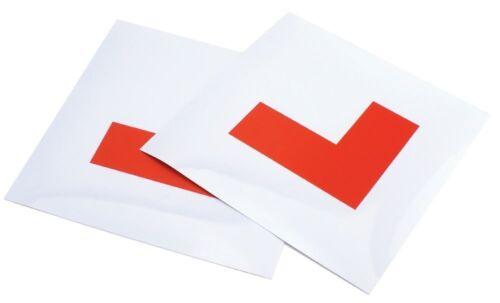 2 X NEW MAGENTIC RED L PLATES LEARNER DRIVER SELF ADHESIVE STRIPES CAR BIKE