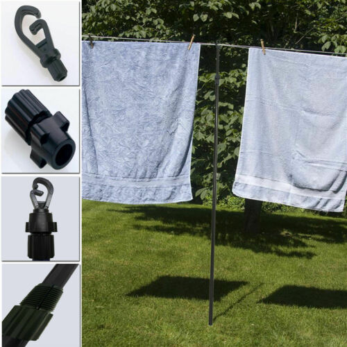 3x Heavy Duty Extending Telescopic Washing Clothes Line Prop Pole Support