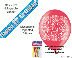 Image Is Loading Boys Happy 11th Birthday Party Banner And Balloons
