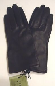 Ladies-Fownes-100-Cashmere-Lined-Genuine-Leather-Gloves-Black-Small