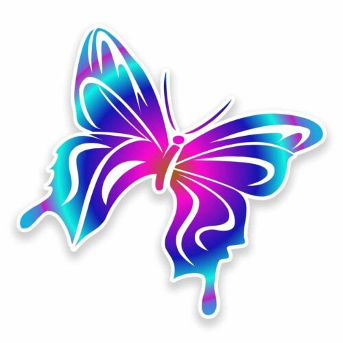 2 x Pretty Butterfly Vinyl Sticker Car Travel Luggage #9594