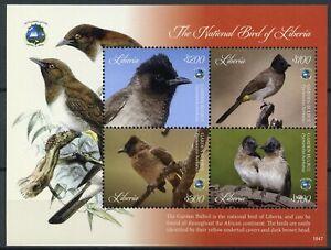Liberia-2018-Gomma-integra-non-linguellato-giardino-bulbul-NAZIONALE-Bird-4v-M-S-birds-stamps