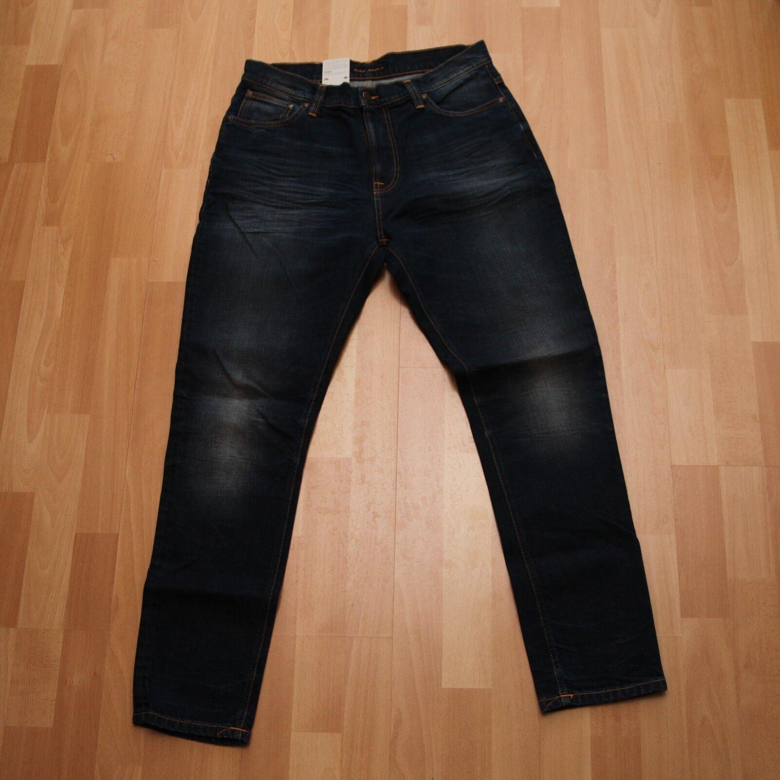 NEU Nudie Jeans  Brute Knut (Anti Fit taperot leg) Dark Dusk 32 30