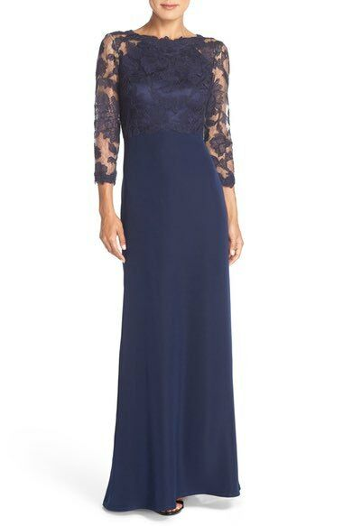 TADASHI SHOJI EMBROIDERED LACE GOWN ROYAL NAVY DRESS sz 4