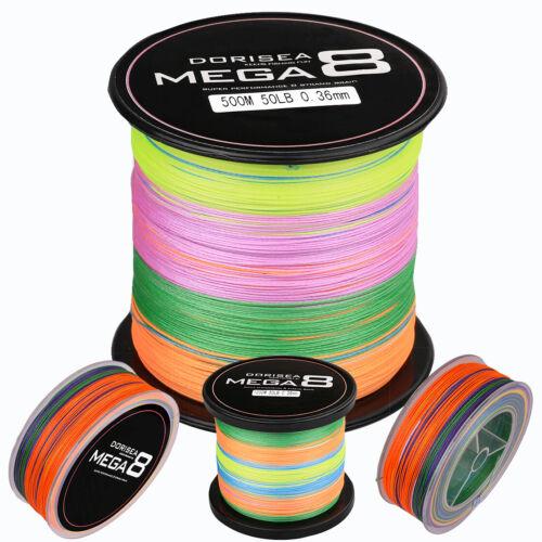 8 Strand Dorisea Multicolor Braided Fishing Line 100M 300M 500M 1000M 2000M 30LB