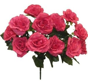 12 Open Roses FUCHSIA PINK Wedding Bouquet Flowers Silk Centerpiece