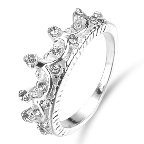Princess Lady Silver Rhinestone Zircon Queen Crown Wedding Ring Lover GLA