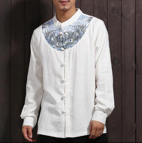 Para Hombres Estilo Chino Bordado Mangas Largas Camisa Casual de Algodón Lino Camisa Tang