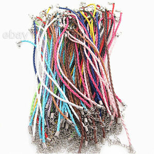 60pcs-New-Wholesale-Assorted-Leather-Braided-Bracelet-Cords-Findings-20cm-BS