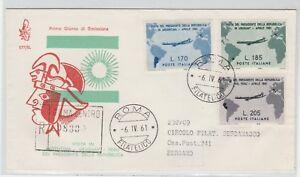 STORIA-POSTALE-1961-REPUBBLICA-GRONCHI-3-VALORI-DA-ROMA-A-BERGAMO-Z-9731