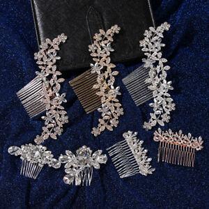Jewelry-Bride-Barrette-Crystal-Rhinestone-Comb-Bridal-Headpiece-Hair-Comb-Clip