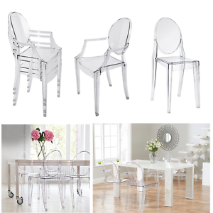 Eggree 4 Clear Ghost Dining Chair Transparent Chic Starck