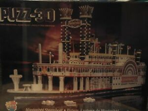 Big-Beautiful-Wrebbit-Puzz-3D-Mississippi-Steamboat-Puzzle-New-Sealed-in-Box