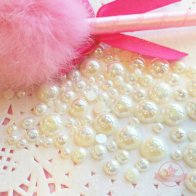 200 2mm -10mm Cream resin faux round Shiny Pearls Flatback Mix Size Cabochon