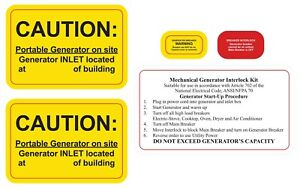 Generator Interlock And Or Transfer Switch Caution Labels Nec Article 702 7 Ebay