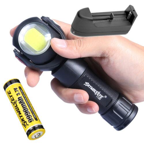 SKYWOLF XM-L T6 COB LED Flashlight Torch Rotating Lamp 150000LM 18650 26650 GL
