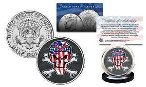 SKULL-Official-Legal-Tender-JFK-Kennedy-Half-Dollar-US-Coin-US-Flag-Crossbones