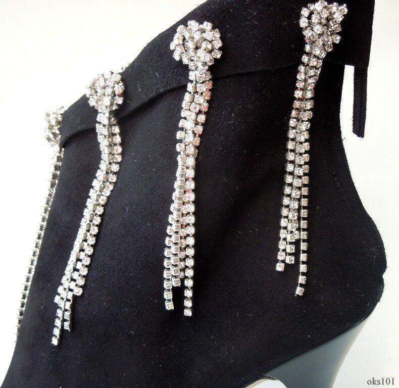 Nouveau 1.4K GIUSEPPE ZANOTTI EN EN EN DAIM NOIR open-toe Jeweled Bottines-Sexy d37fa1