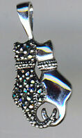925 Sterling Silver Marcasite & Plain Side By Side Twin Cat Pendant Length 1