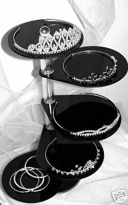 BLACK  6 TIER TIARA JEWELLERY WEDDING ACRYLIC DISPLAY