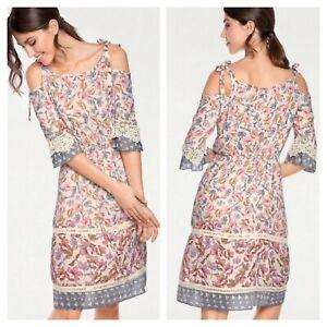 Tesini-Heine-Size-16-18-Floral-Cold-Shoulder-Summer-DRESS-Holiday-90-Broderie