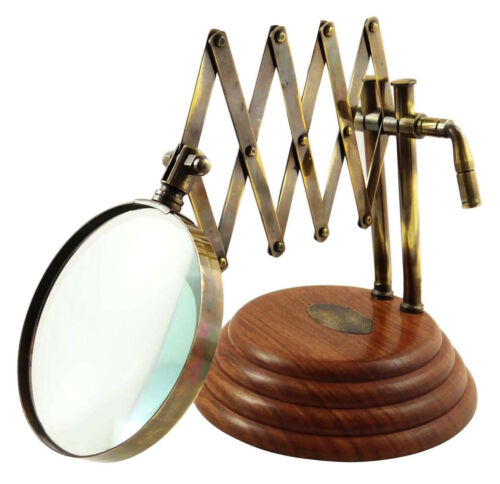 Vintage Style Desk Top Channer Magnifier Brass Magnifying Glass on Wooden Stand