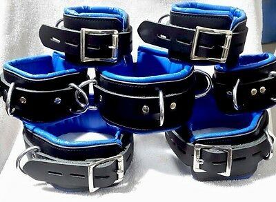 7 PIECE GENUINE LEATHER PADDED RESTRAINTS SET FETISH-COLOR OPTIONS  SOLD 50+