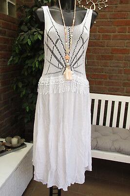 Sommer Strand Kleid Trägerkleid Blumen Weiß Häkel Süß Einheitsgrösse 40-42-44