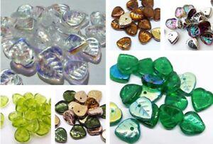 9 (mm) cœur forme Czech glass Leaf Beads-choix de couleur-Pack de 40-afficher le titre d`origine huRbvklP-07192343-550689270