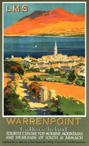 Vintage LMS Warrenpoint County Down Railway Poster A3//A2//A1 Print