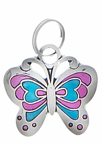 Butterfly Shaped charm pink blue Silver Ganz ER23811