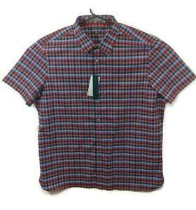 NEW-Perry-Ellis-Short-Sleeve-Stretch-Button-Shirt-Red-Blue-Plaid-Mens-Sz-XL