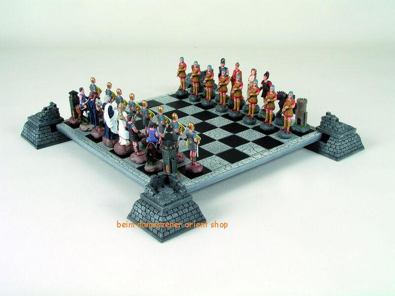 Batalla para Troya peones de estaño & tablero de ajedrez 30 cm de poliresina