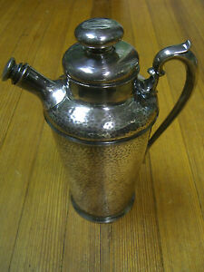 International Silver 48 oz. Silverplate Hammered Cocktail Shaker Pat.01/11/1927