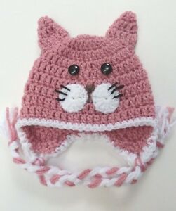 bf01fd1a76b26 Details about CROCHET KITTY CAT BABY HAT knit infant toddler child adult  beanie cap photo prop
