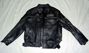 Mens-L-Large-Black-Genuine-Leather-Cafe-039-Racer-Damu-Racing-Motorcycle-Jacket