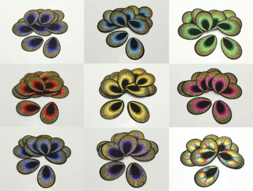30-Pack Embroidered Cloth Iron On Patches Sew Motif Appliques Peacock Eyes