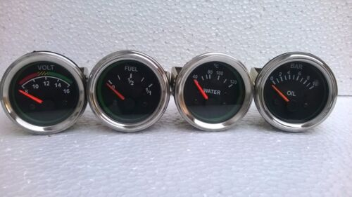 "El Gauges 52mm 4pc Oil Pressure Bar Water Temp /""C  Fuel Gauge  Volt"