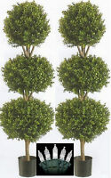 "ONE 66"" Triple Ball-Shaped Boxwood Topiary in Plastic Pot Two Tone Green () Flowers and Plants"