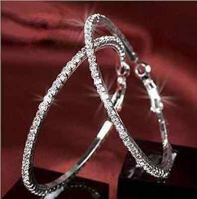 1Pair New European Style Dazzling Crystal Big Earring Hoop Circle  U Pick Size