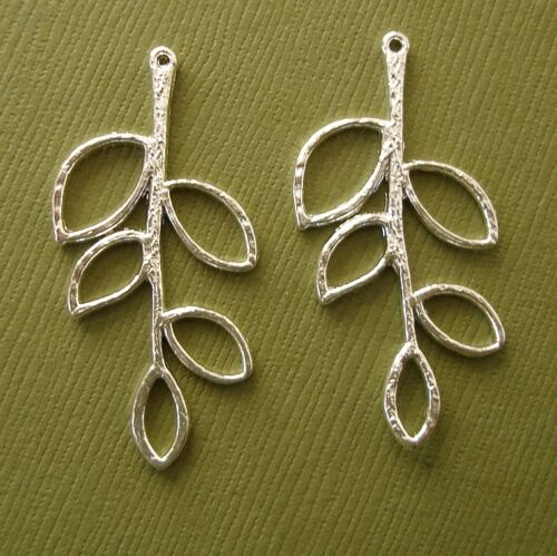 Twig Branch Leaf Charm Pendant Connector Silver Plated 40x20mm 2pcs.