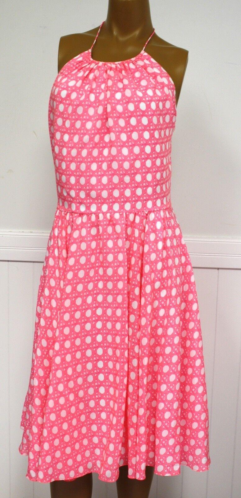 Vineyard Vines Dress Pink Coral Sand Caning Print Halter Dress MSRP 228 NEW