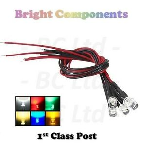 Pre-Wired-LEDs-3mm-5mm-Flat-Top-Wide-Angle-9V-12V-Various-Colours-Prewired