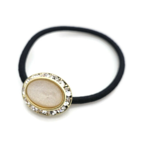 Sleek Epoxy Ball Rhinestone Oval Jewel Decorated Hair Elastic Ponytail Holder