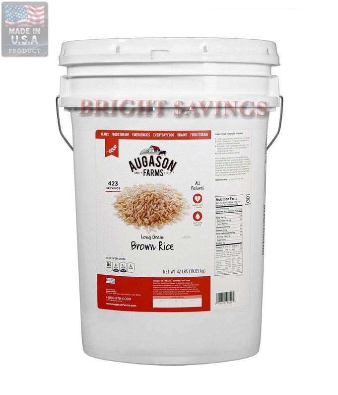 Augason Farms 423 Servings Long-grain Brown Rice 42 lb Pail Emergency Storage