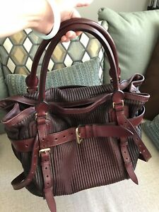 f11cd0269454 Image is loading 100-Authentic-Burberry-Large-Leather-Bag-Very-Good-