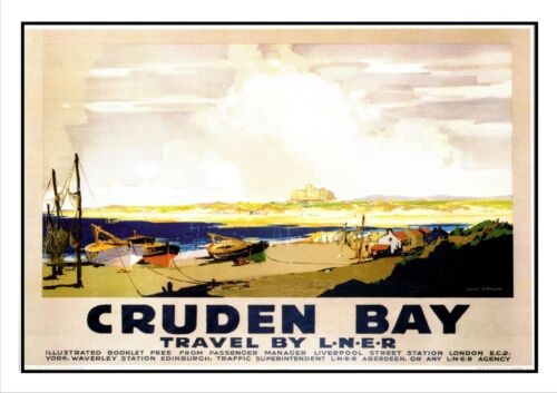 Cruden Bay Small Village In Scotland Travel By L.N.E.R Railway Vintage Poster